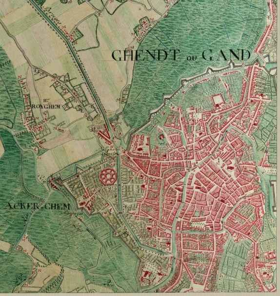 Ghent, Ferraris Map, 1775