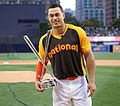 Giancarlo Stanton holds up the T-Mobile -HRDerby trophy. (28521897946).jpg