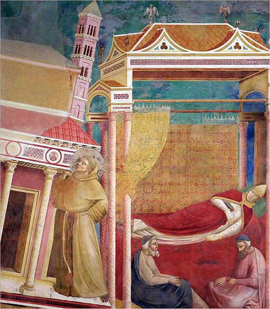 Giotto, z cyklu legend o św. Franciszku - sen Innocentego III