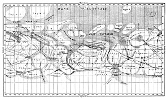 History of Mars observation - Map of Mars by Giovanni Schiaparelli, compiled between 1877 and 1886, showing canali features as fine lines
