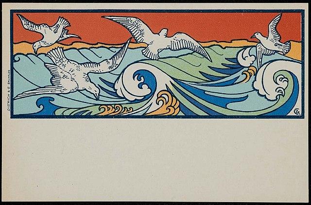 Peinture, peintres et peintures. - Page 4 640px-Gisbert_Combaz_-_Postcard_of_seagulls_in_the_waves