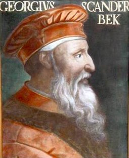 After serving the Ottoman Empire for nearly 20 years, Gjergj Kastrioti Skanderbeg deserted and began a rebellion against the empire that halted Ottoman advance into Europe for 25 years. Gjergj Kastrioti.jpg