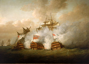 French ship Vengeur du Peuple - HMS ''Brunswick'' simultaneously engaging Vengeur du Peuple and Achille. By Nicholas Pocock.