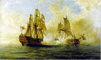 Voyage of the Glorioso - Combat of the Glorioso against HMS Dartmouth. Oil on canvas by Ángel Cortellini Sánchez, 1891.