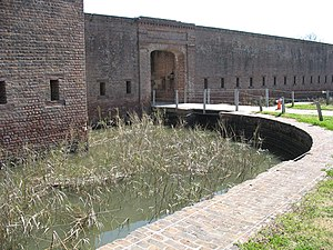 Fort James Jackson - Moat at Fort Jackson