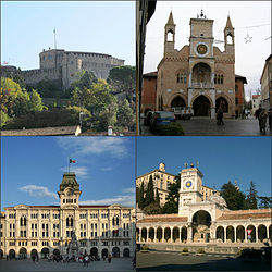 In senso orario vedute di Gorizia, Pordenone, Udine e Trieste