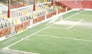 Football pitch - The Goal line at the Stretford End of Old Trafford in Manchester (1992)