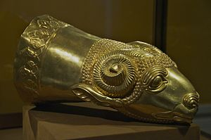 Ziwiye hoard - Gold rhyton in the form of a ram's head from the hoard, Reza Abbasi Museum, Tehran