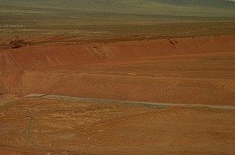"Gold cyanidation - Cyanide leaching ""heap"" at a gold mining operation near Elko, Nevada"