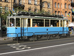 Gothenburg tram network - A vintage (bogie) tram on line 12. These trams usually run in the summer, as a tourist attraction.