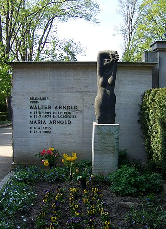 "Walter Arnold (sculptor) - The statue on the grave of Walter and Maria Arnold (entitled ""Es gibt kein fremdes Leid"") was created by Walter Arnold himself."