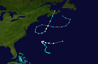 Map of the western Atlantic Ocean depicting two storm tracks