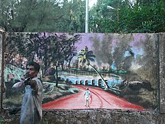 Graffity in the making...(On a wall at Thrissur) CIMG9873