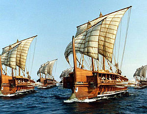 Trireme - Fleet of triremes made up of photographs of the modern full-sized replica Olympias