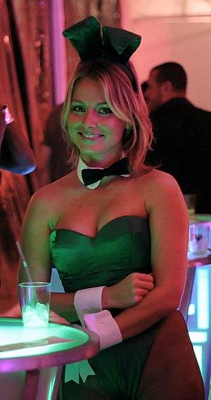 A green Playboy Bunny attending the Karma Foun...