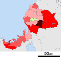 Growth rate map of municipalities of Fukui prefecture, Japan.svg