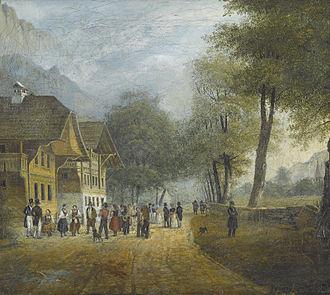 Interlaken - Höhenweg der Aarmühle nach Interlaken painting of Aarmühle by Jules-Louis-Frédéric Villeneuve from 1823