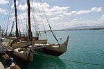 Hōkūle'a front with masts.JPG