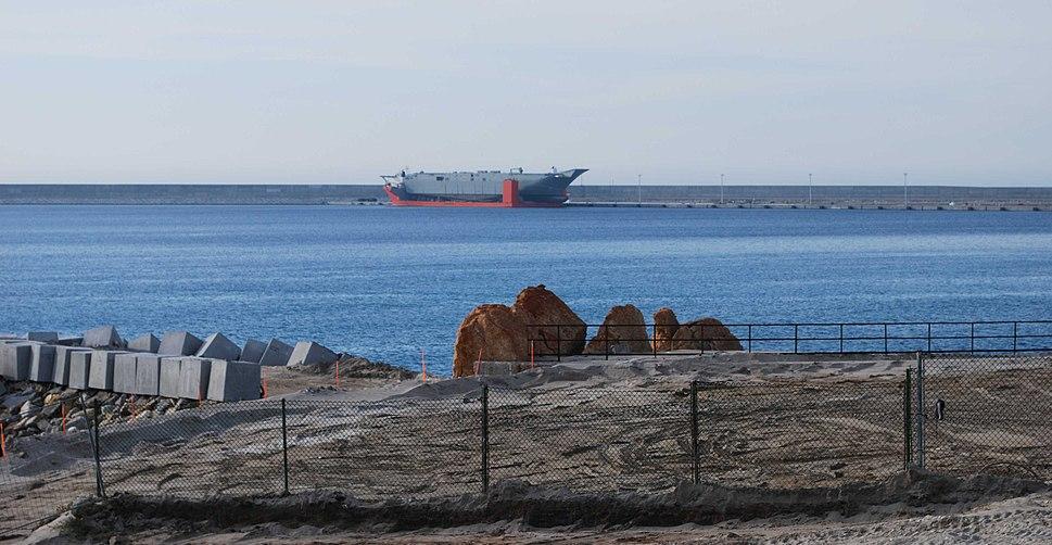 HMAS Canberra on Blue Marin in Punta Langosteira port