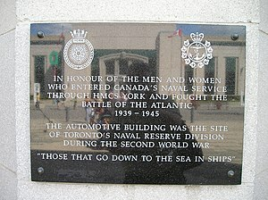 HMCS York - HMCS York plaque at the Canadian National Exhibition grounds in Toronto