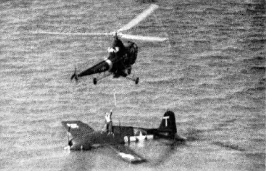 HO3S rescueing F6F pilot c1949
