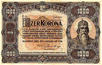 Hungarian korona - Image: HUK 1000 1920 obverse