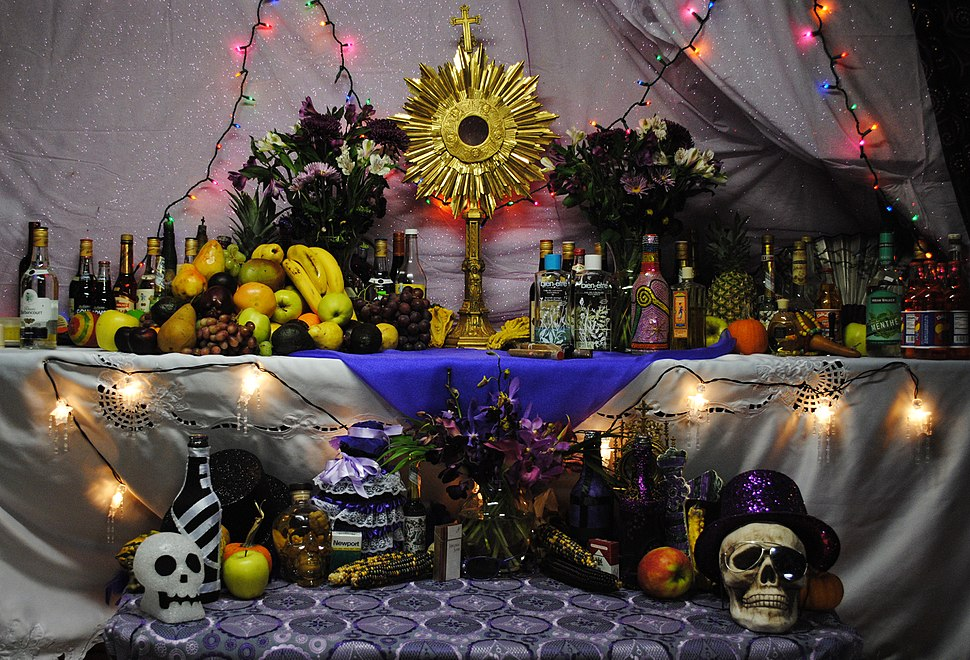 Haitian vodou altar to Petwo, Rada, and Gede spirits; November 5, 2010.