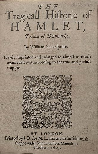 Hamlet Q1 - Title page of the 1605 printing (Q2) of Hamlet