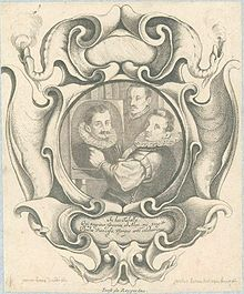 Engraved portrait by Jacob Lutma after Johannes Lutma the Elder, of Hans von Aachen with Adriaen de Vries and Paul van Vianen. The frame shows the auricular style's affinities with Mannerist strapwork
