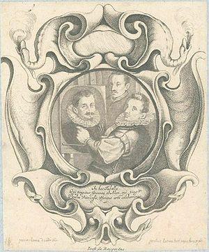 Auricular style - Engraved portrait by Jacob Lutma after Johannes Lutma the Elder, of Hans von Aachen with Adriaen de Vries and Paulus van Vianen. The frame shows the auricular style's affinities with Mannerist strapwork