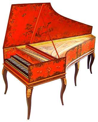 Baroque music - The harpsichord, a keyboard instrument in which pressing the keys caused a quill to pluck the strings, was an important Baroque era instrument, which was used both in accompaniment and solo roles. Pictured is a double-manual (two keyboard) harpsichord after Jean-Claude Goujon (1749).