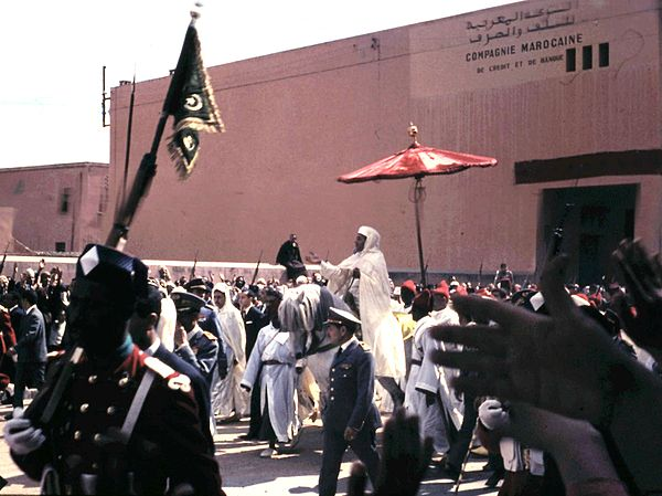 King Hassan II, on his way to Friday prayers in Marrakesh, 1967. Hassan II, Marrakech, 1966.jpg