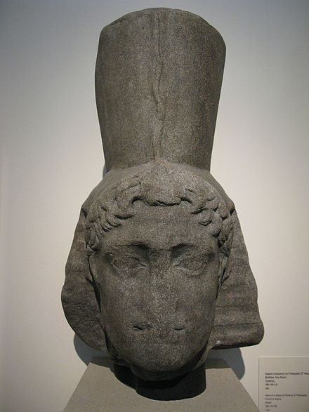 Depiction of Ptolemy VI as Pharaoh, found in the sea near Aegina. Head of a statue of Ptolemy VI Philometor. Found at Aigina. Granit. 180-145 BC (4334587826).jpg