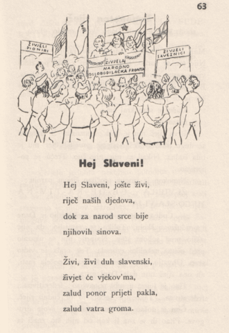 Hey, Slavs - A Croatian language version print of the poem that would become the national anthem of Yugoslavia.