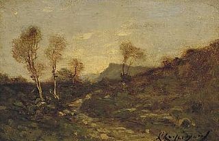 Hilly landscape with birches
