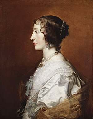 Triple Portrait of Henrietta Maria - Detail of the portrait, showing the profile facing left.