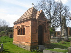 West Norwood Cemetery - Sir Henry Doulton's mausoleum with crematorium in the background