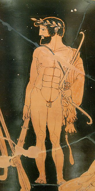 "Milo of Croton - Heracles wearing a hero's wreath, a lion-skin, and carrying a club. Milon appeared in similar dress at the battle between Croton and Sybaris in 510 BC. Detail of Herakles from Side A of the vase, ""Herakles and the gathering of the Argonauts (aka ""Herakles in Marathon""), Attic red-figure calyx-krater, 460–50 BCE, Louvre."