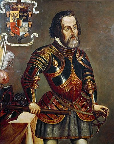Hernan Cortes in his later years; his coat of arms on the upper left corner. Painting reproduced in the book America (R. Cronau 19th century). Hernan Fernando Cortes.jpg