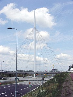 Hovenring Suspended bicycle path roundabout on the border between Eindhoven and Veldhoven in the Netherlands.