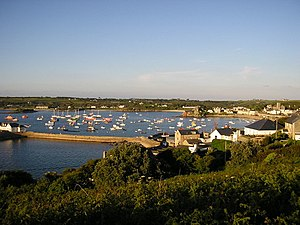 St Mary's, Isles of Scilly - The harbour at Hugh Town, looking east; the quay is where the Scillonian III berths.