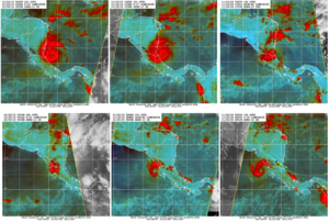 Hurricane Otto - A series of microwave satellite images depicting the inner structure of Hurricane Otto as it traversed Central America. Note that despite crossing land, its eye remained largely intact.
