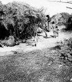 Hydda med kalebasser utanför, hund och barn. Gran Chaco, Rio Pilcomayo. Bolivia - SMVK - 004723.tif