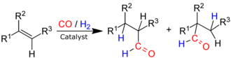 Hydroformylation - Hydroformylation of an Alkene (R1 to R3 organyl groups (i. e.  Alkyl- or Aryl group) or hydrogen).