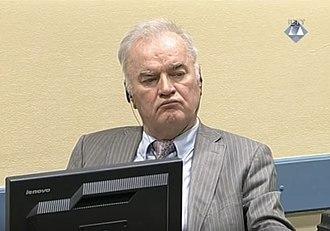 Ratko Mladić - Mladić on trial at The Hague, 2017.