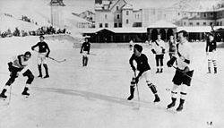 Ice hockey in Europe; Oxford University vs. Switzerland, 1922. Future Canadian Prime Minister Lester Pearson is at right front.