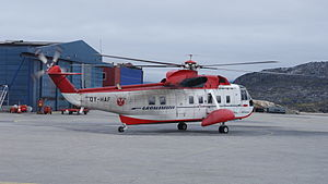 Ilulissat Airport - Image: Ilulissat airport air greenland sikorsky s 61n