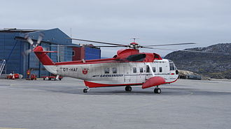 Qeqertarsuaq - Qeqertarsuaq Heliport is served in winter by the Sikorsky S-61N helicopter, seen here on the tarmac in Ilulissat Airport.