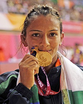 India's Geeta win Gold Medal in Women's Free Style Wrestling 55 Kg beating Emily Bensted of Australia, in New Delhi on October 07, 2010.jpg