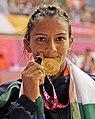 India's Geeta win Gold Medal in Women's Free Style Wrestling 55 Kg beating Emily Bensted of Australia, in New Delhi on October 07, 2010.jpg